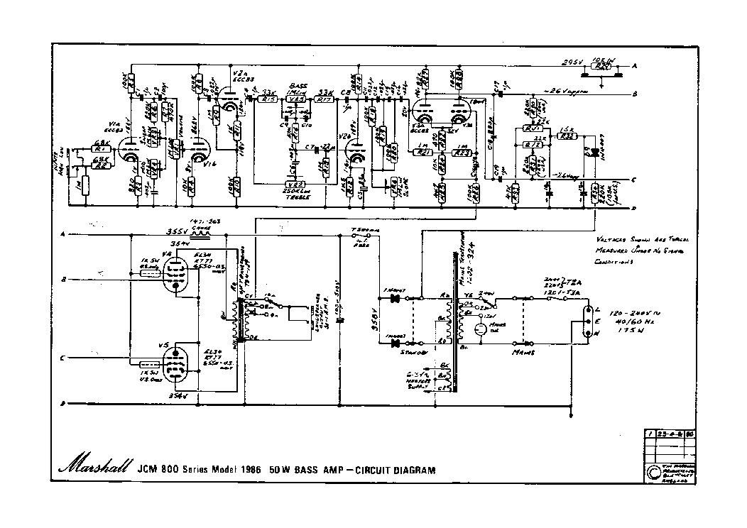 MARSHALL JCM800 BASS 1996-50W TUBE AMPLIFIER SCH Service