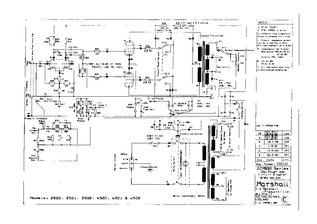 MARSHALL JCM900-50W TUBE AMPLIFIER SCH Service Manual
