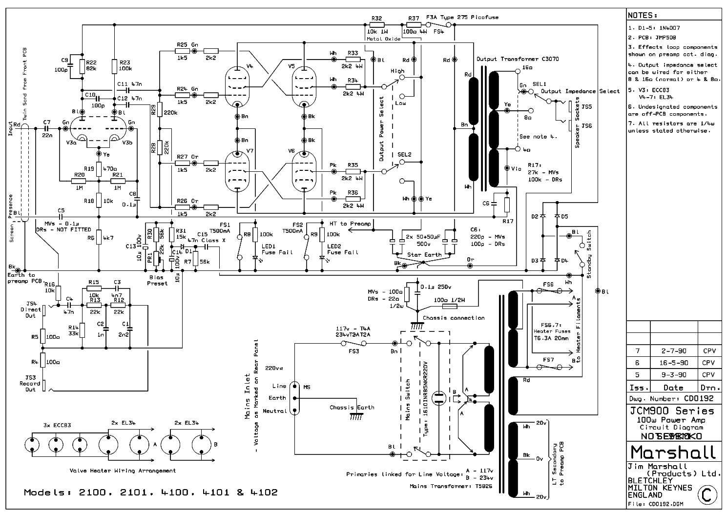 MARSHALL JCM2000 TSL100 100W Service Manual download, schematics, eeprom, repair info for