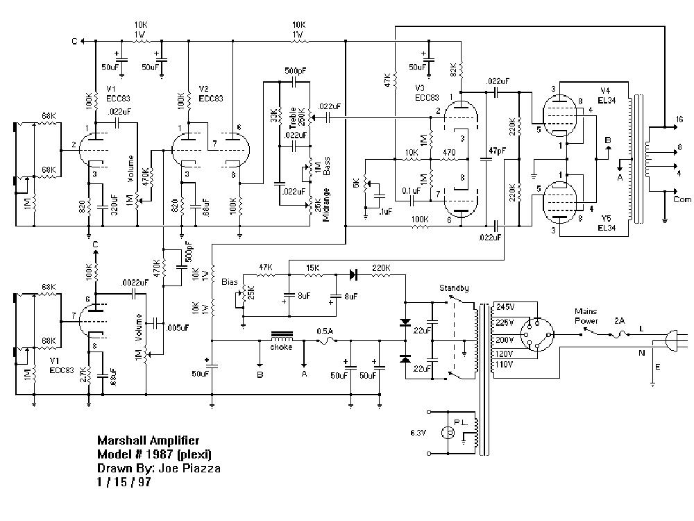 MARSHALL JMP-1987 Service Manual download, schematics