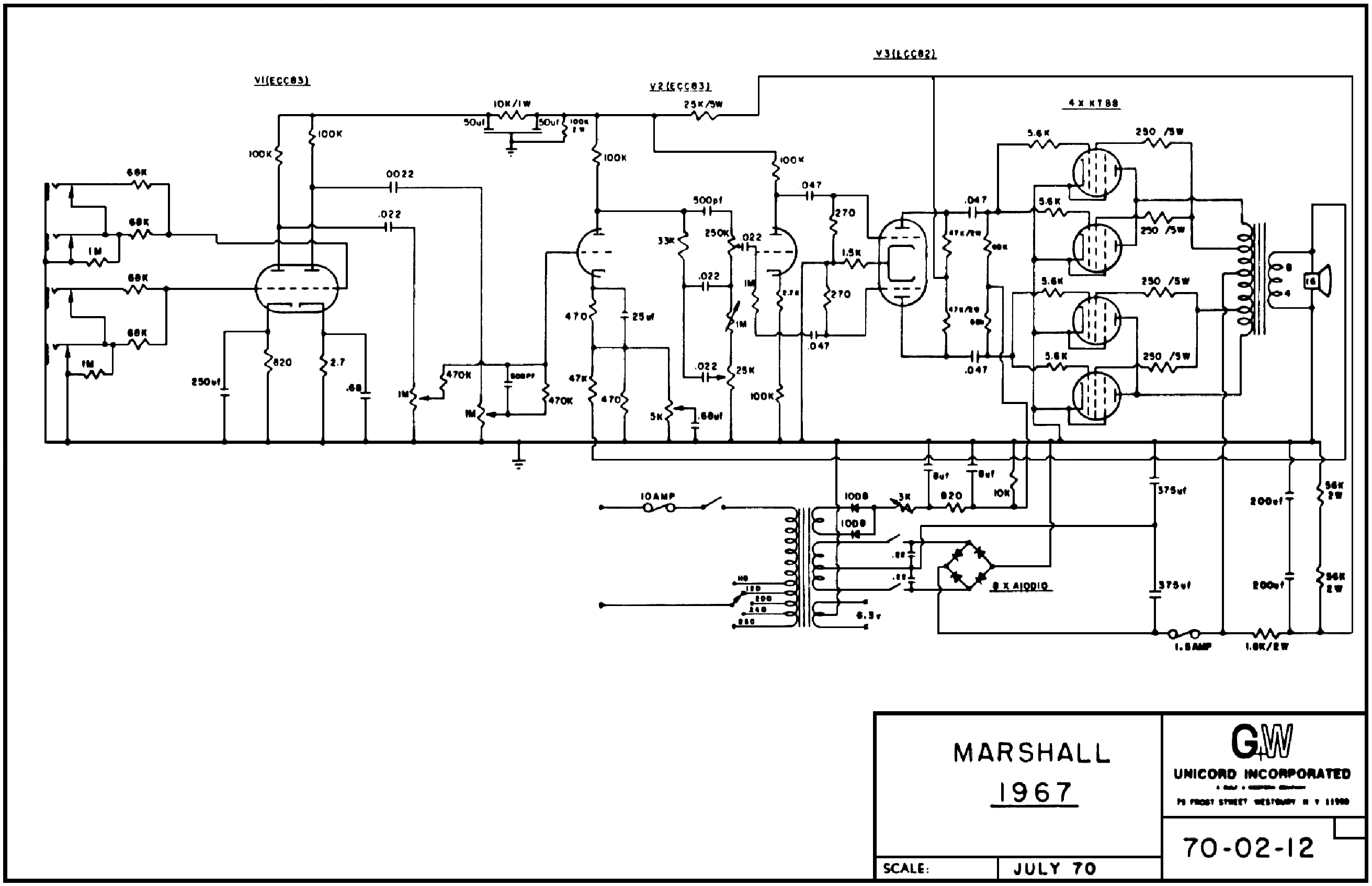 MARSHALL MAJOR 1967U LEAD 200W SCH Service Manual download