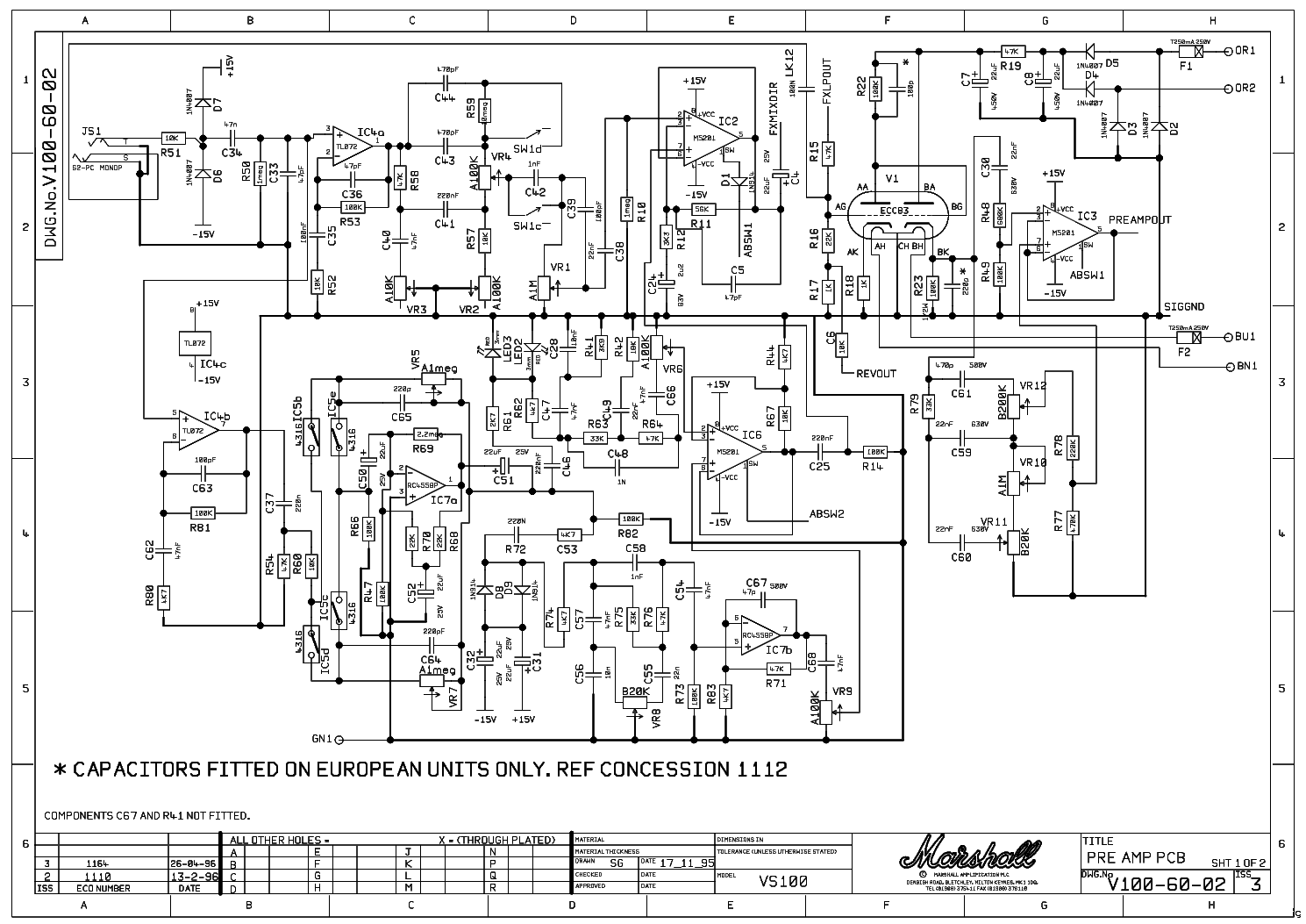 MARSHALL VS100R 100W Service Manual download, schematics