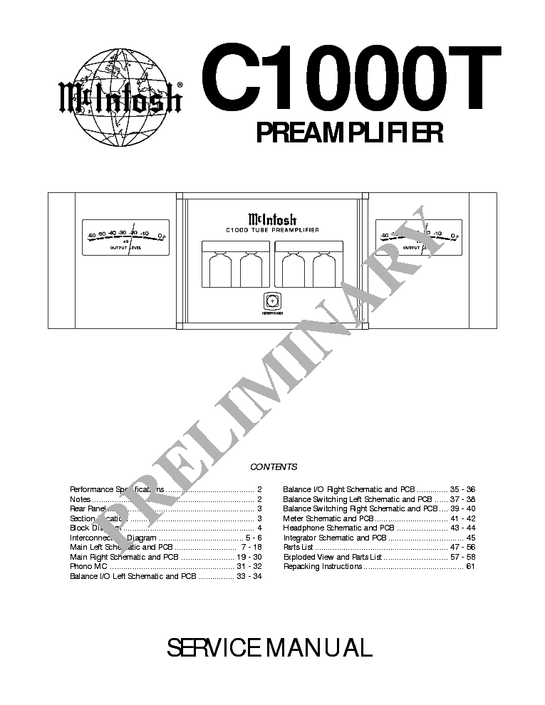 MCINTOSH C1000T Service Manual download, schematics