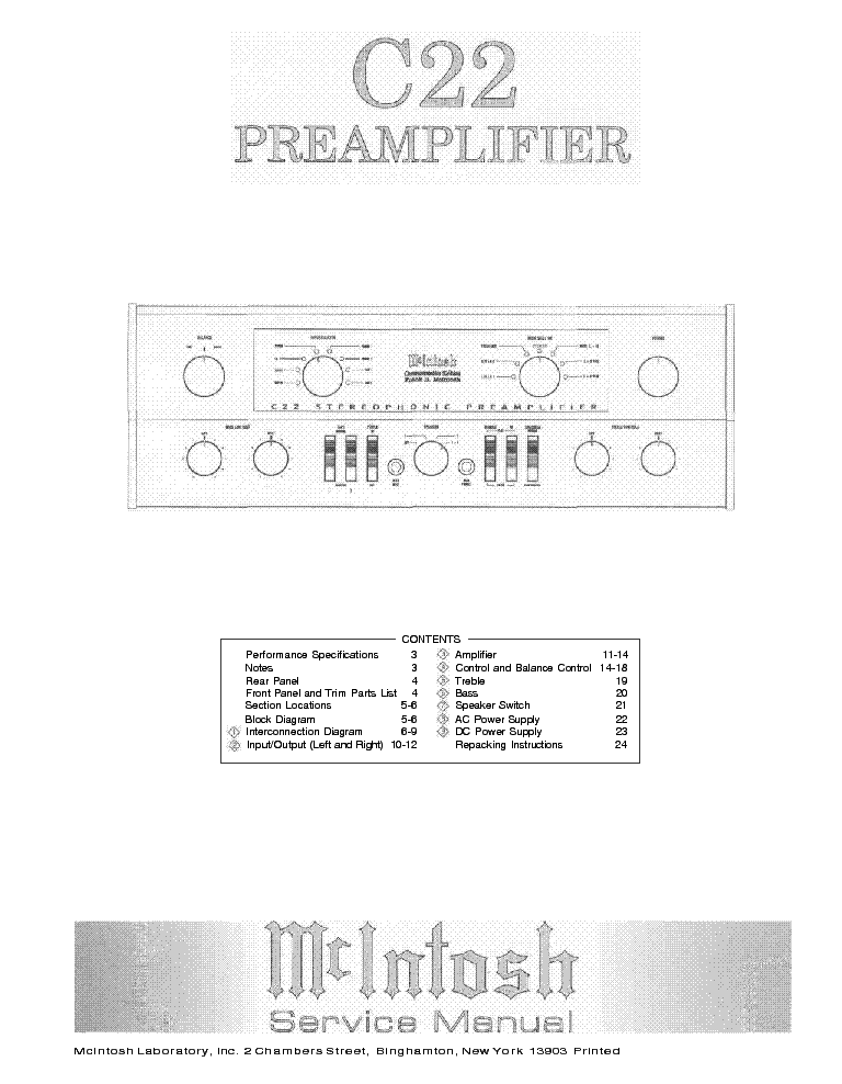 MCINTOSH C22 PREAMPLIFIER Service Manual download