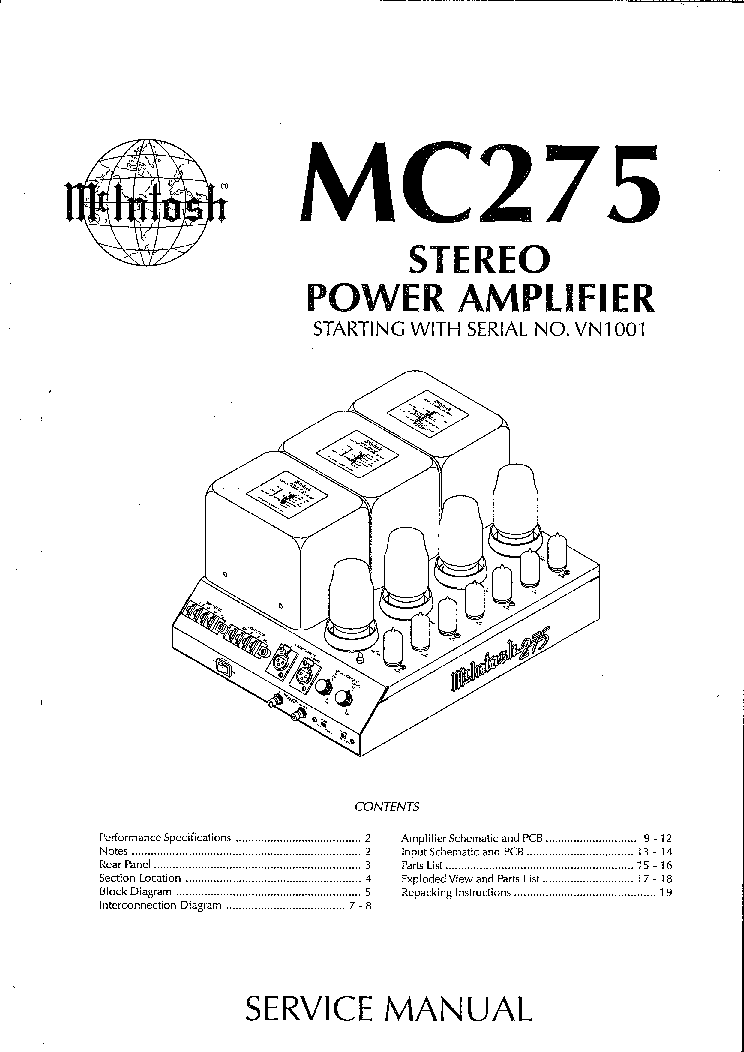MCINTOSH MC275 MK4 TUBE POWER AMPLIFIER SM Service Manual