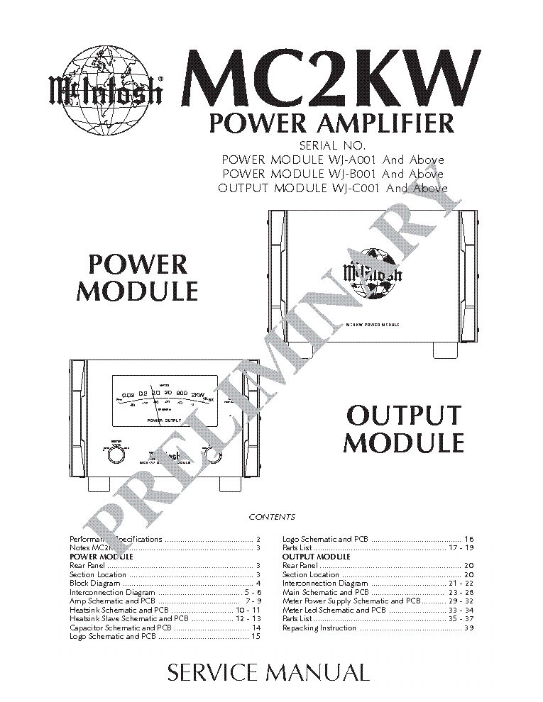 MCINTOSH 175 275 MC30 MC60 MC225 MC2100 SCH Service Manual