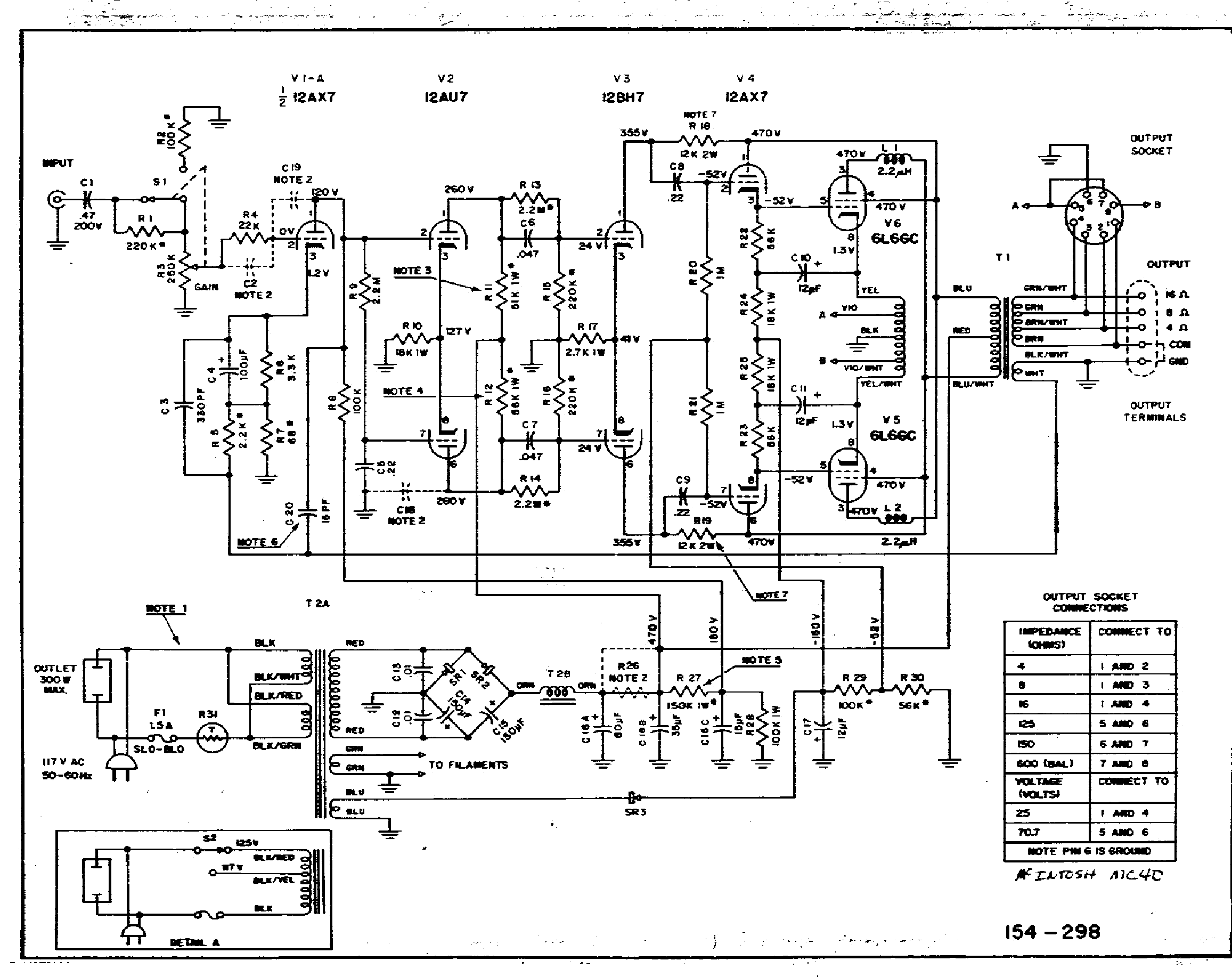 MCINTOSH MC40 SCH 1 Service Manual download, schematics