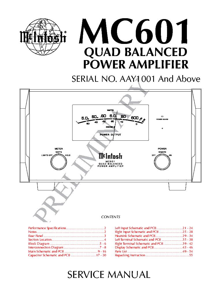 MCINTOSH MC601 PRELIMINARY Service Manual download