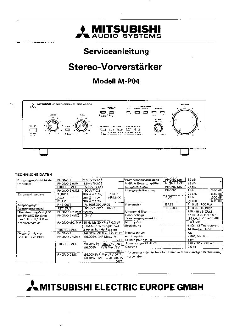 MITSUBISHI M-P04 Service Manual download, schematics