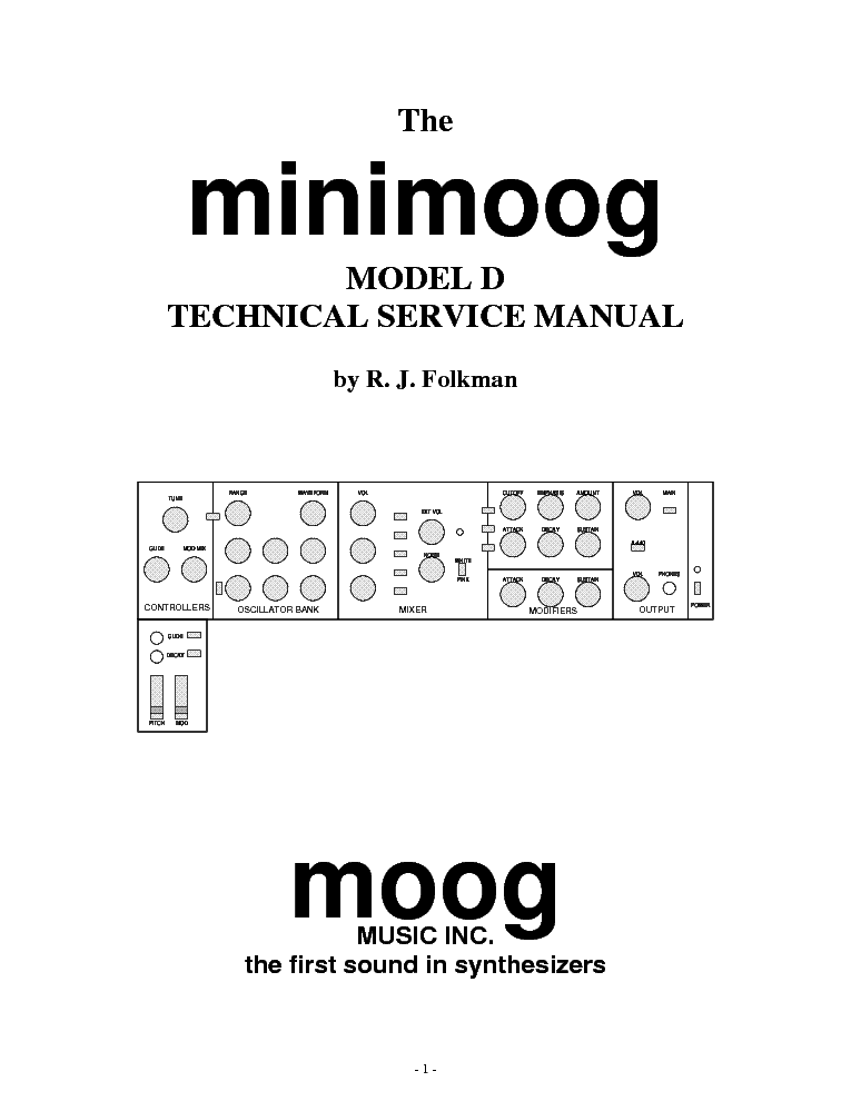 MOOG MINIMOOG-D Service Manual download, schematics
