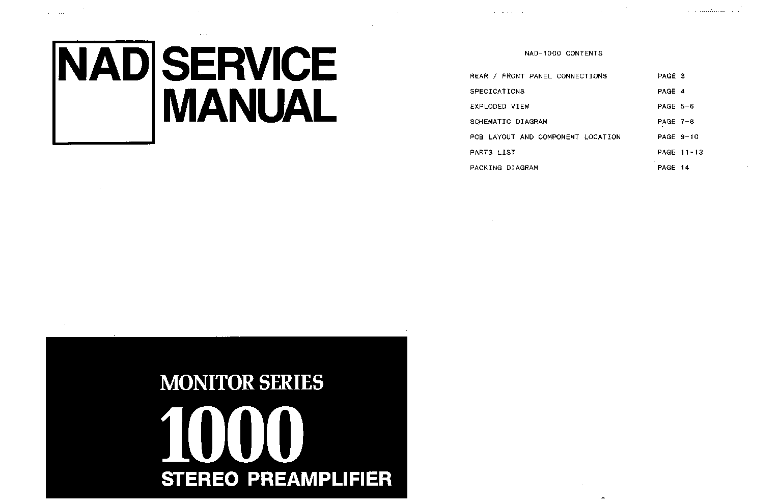 NAD 1000 SM Service Manual download, schematics, eeprom