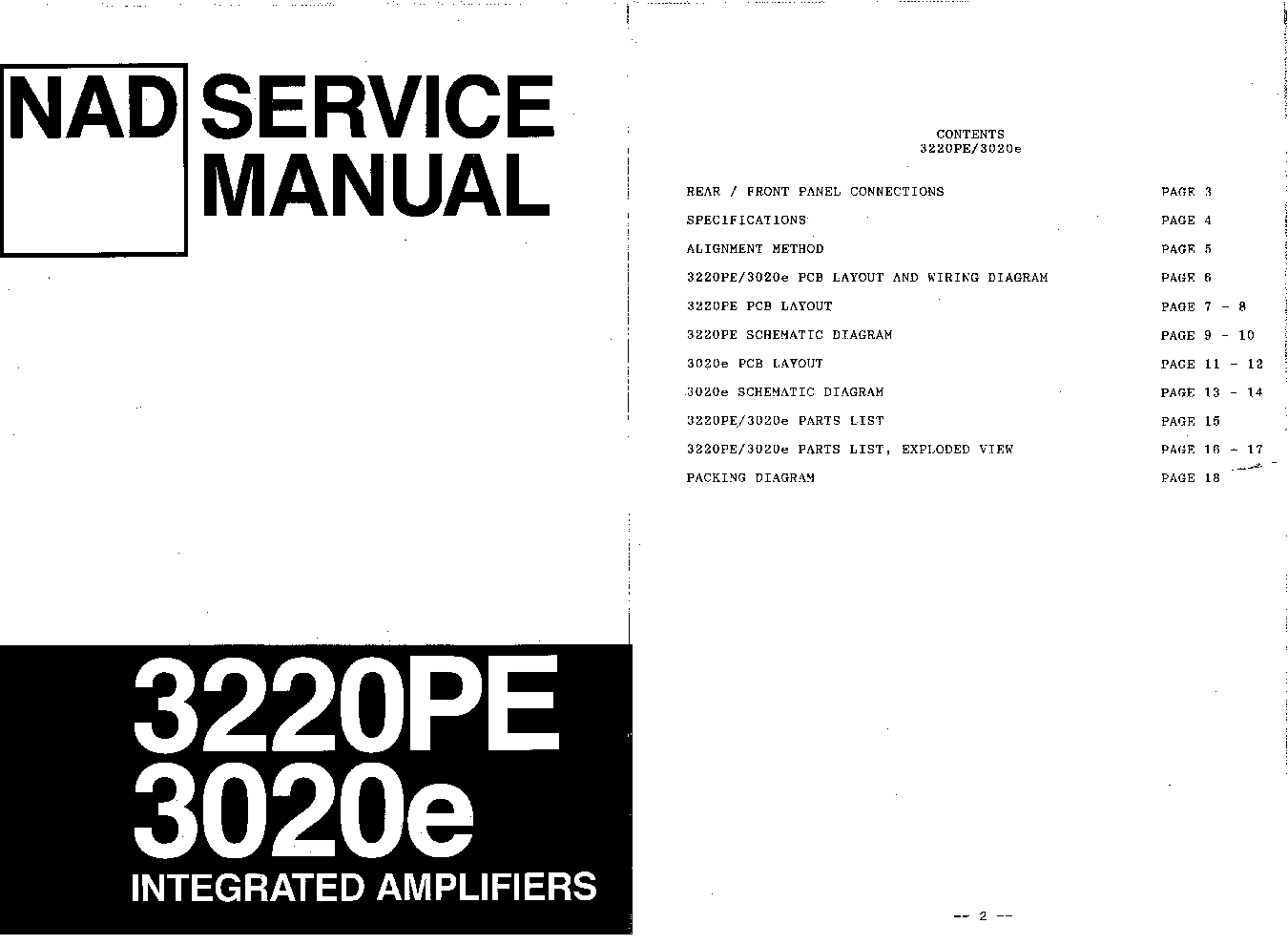 NAD 3020E 3220PE SM-2 Service Manual download, schematics