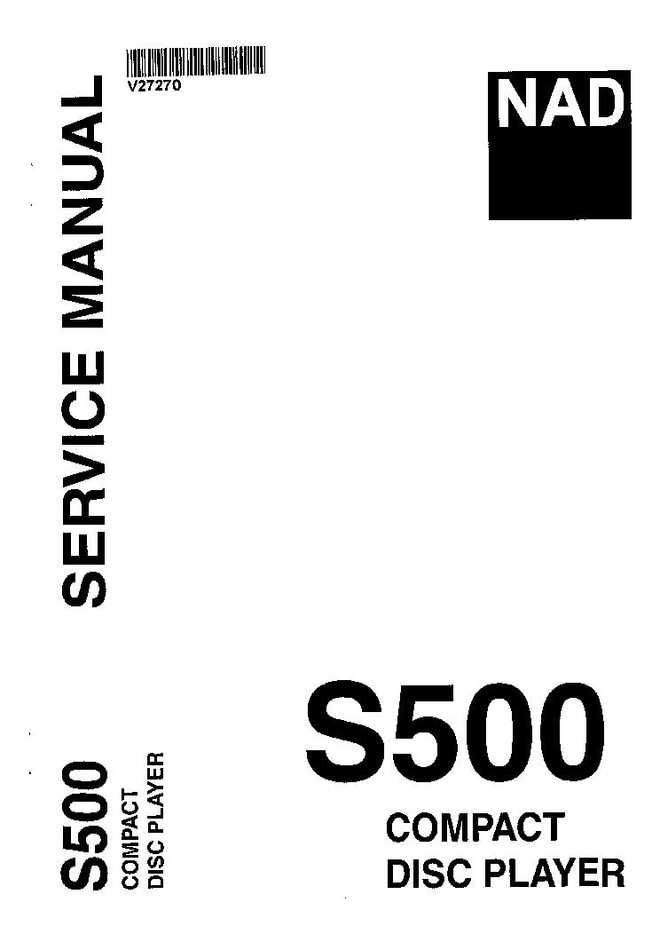 NAD S500 FULL SERVICE MANUAL Service Manual download