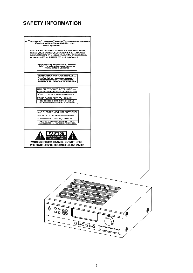 NAD T175 SM Service Manual download, schematics, eeprom