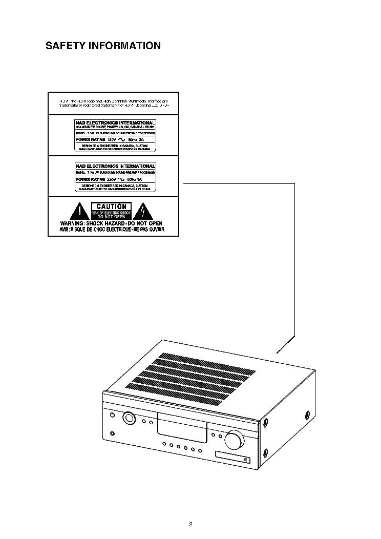 NAD T187 Service Manual download, schematics, eeprom