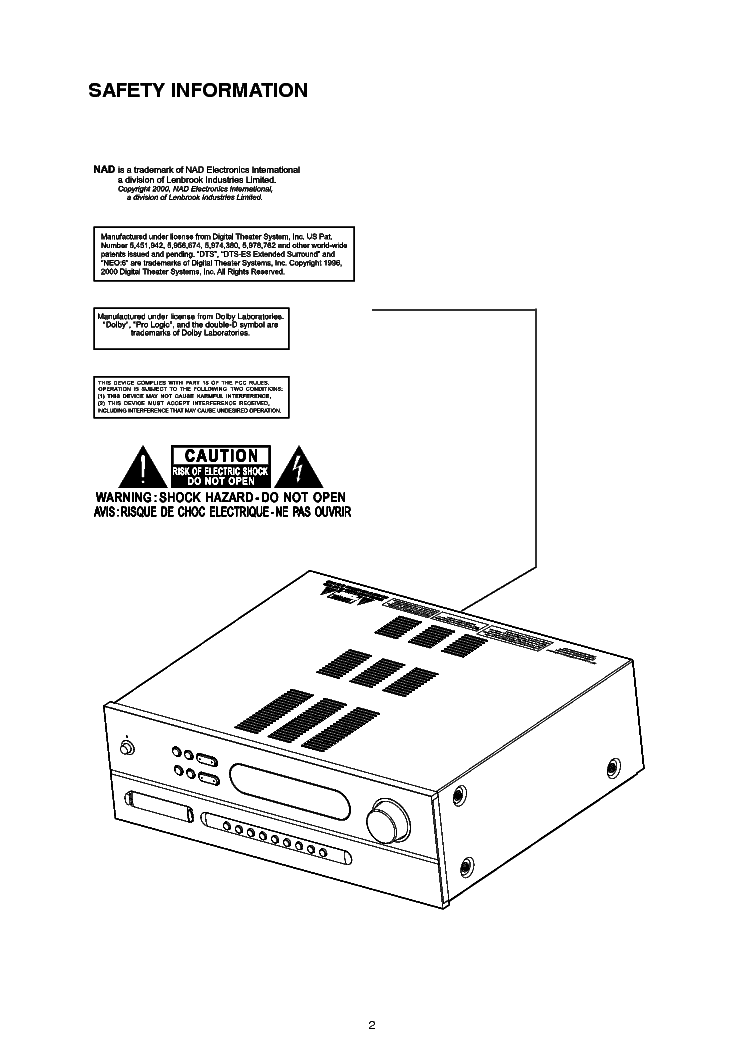 NAD T752 SM 1 Service Manual download, schematics, eeprom