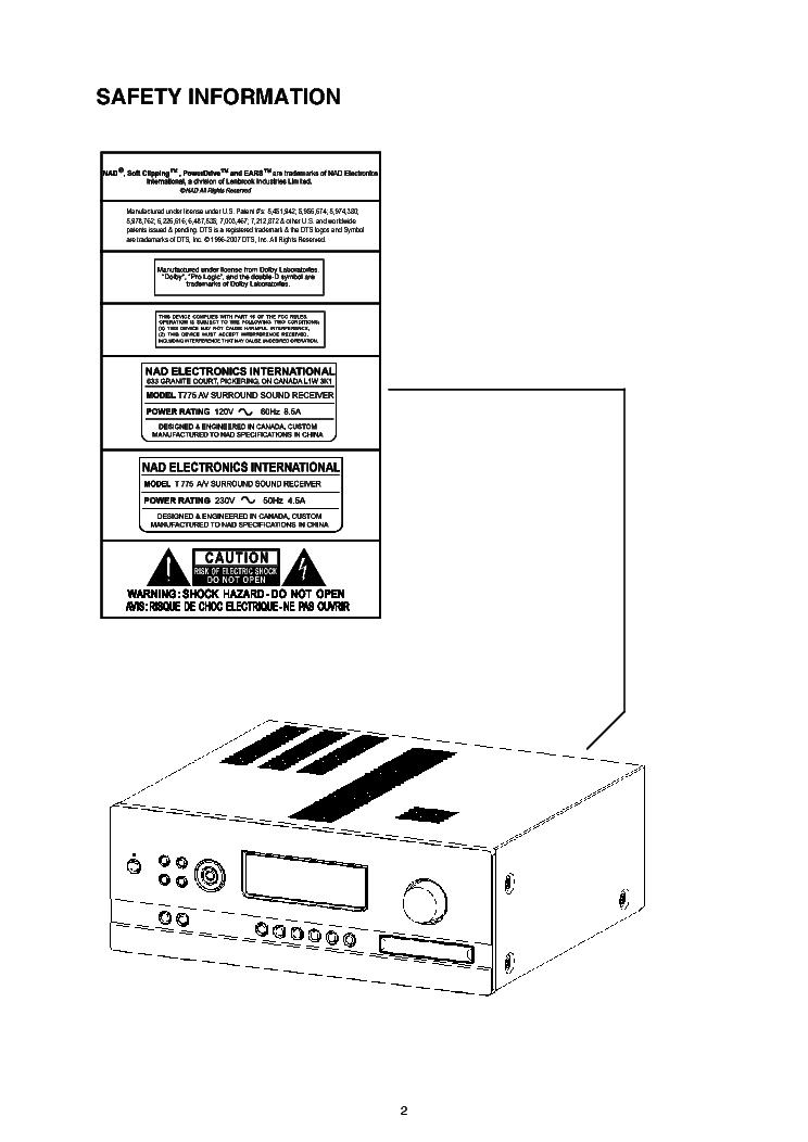 NAD T775 SM Service Manual download, schematics, eeprom