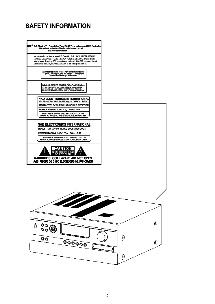 NAD T785 SM Service Manual download, schematics, eeprom
