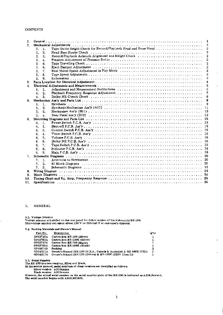NAKAMICHI BX100 E SM Service Manual download, schematics