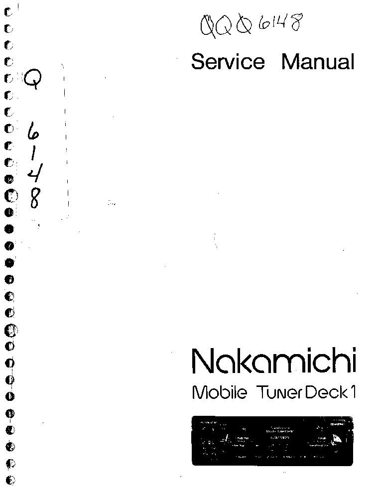 NAKAMICHI MTD1 MOBILE TUNER DECK SM Service Manual