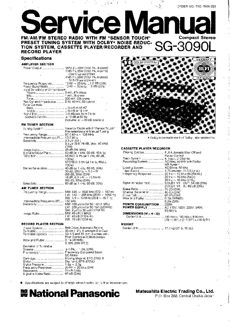 NATIONAL-PANASONIC SG-3090L SM Service Manual download