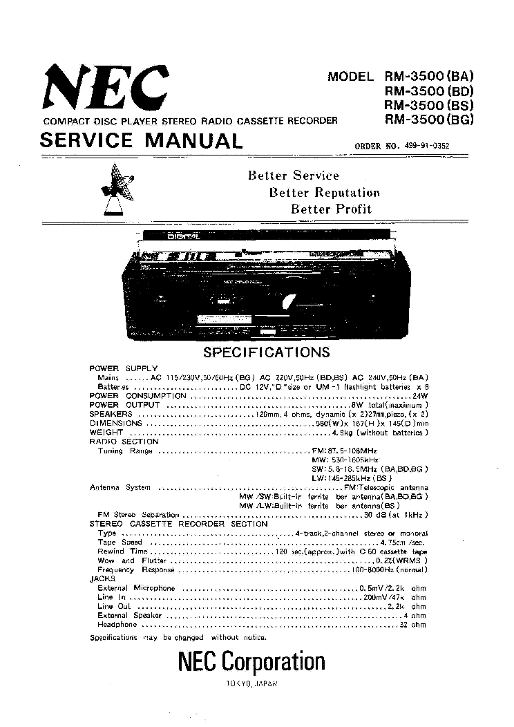 NEC RM3500 PORTABLE STEREO SM Service Manual download