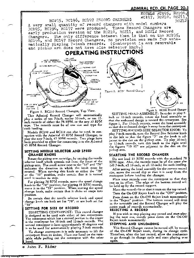 ADMIRAL RC197 SCH Service Manual download, schematics