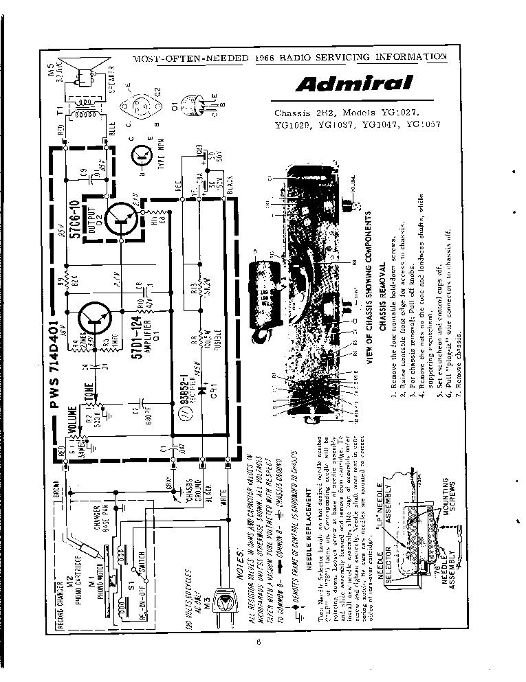 ADMIRAL YG1029 SCH Service Manual download, schematics