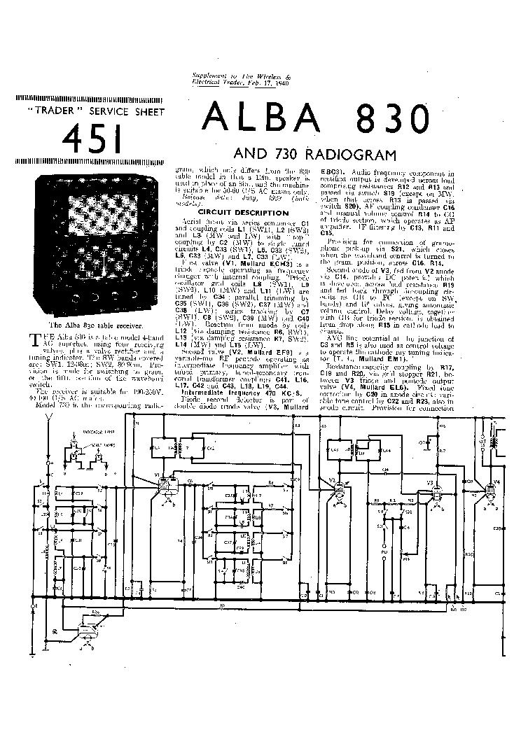 ALBA 830 AC RADIO7310 RADIO-GRAMOPHONE 1940 SM Service