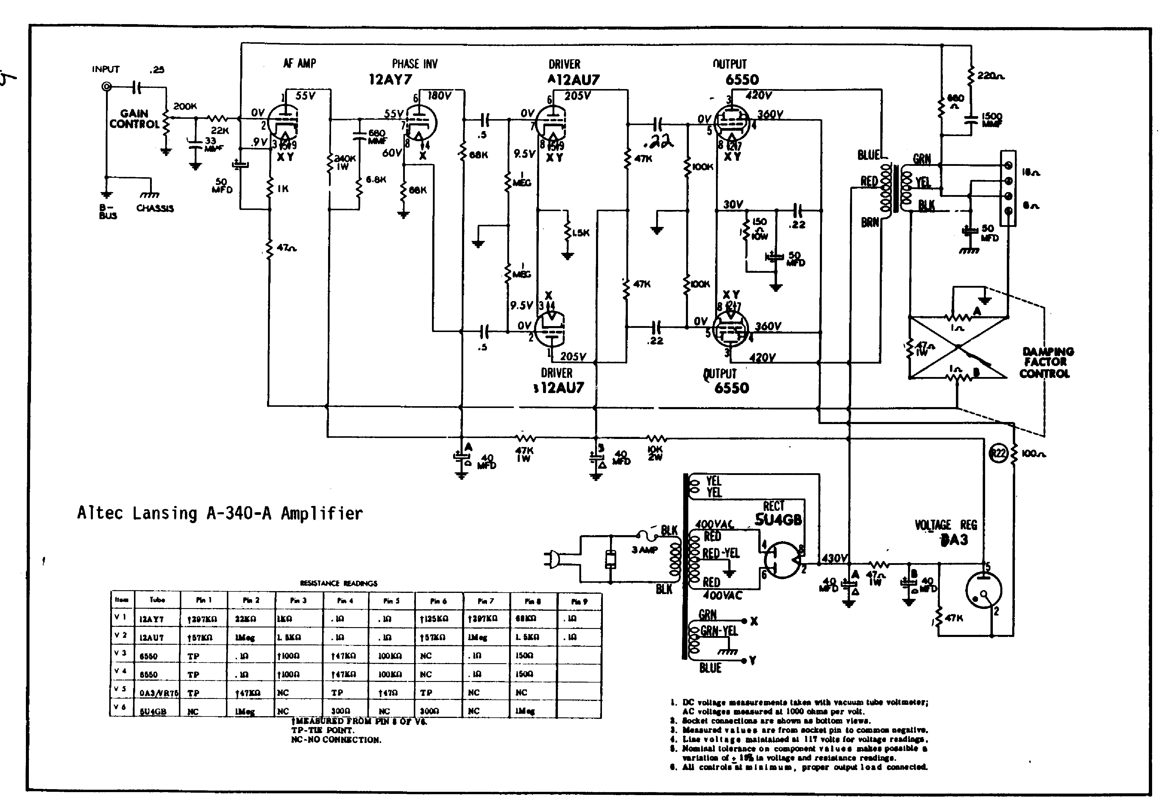 Altec Amplifier Transformer Wiring Schematics Transformer