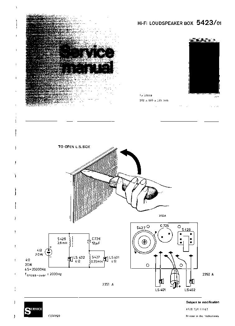 ARISTONA 5423 01 LOUDSPEAKER BOX SM Service Manual