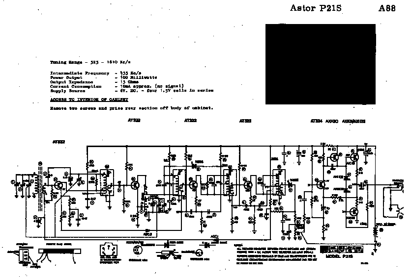 ASTOR P11K 6V TRANSISTOR PORTABLE RADIO 1964 SM Service