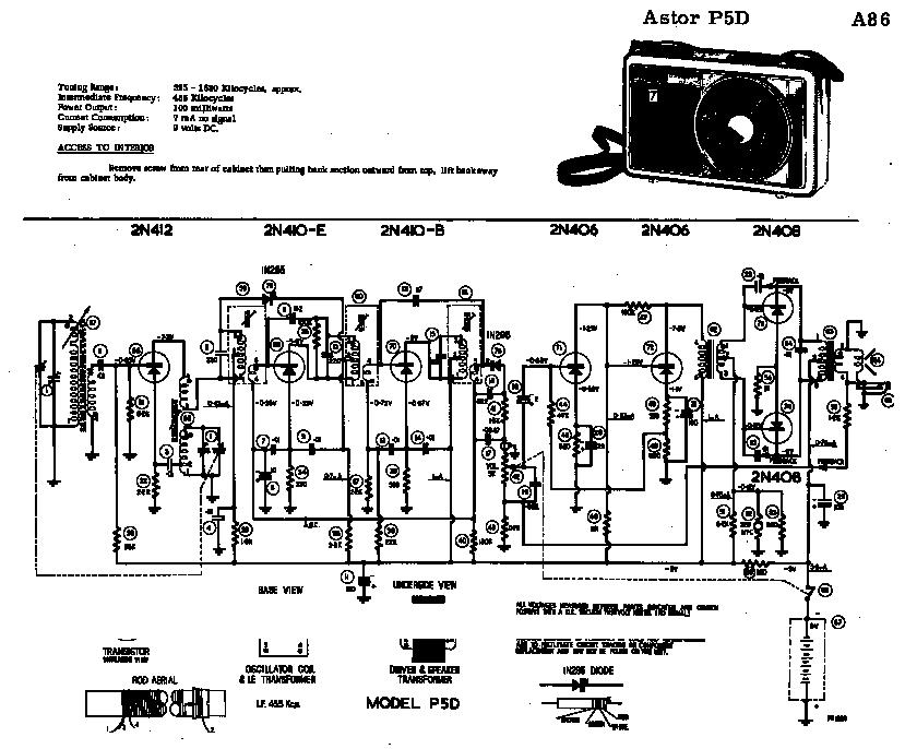 ASTOR P12L 6V TRANSISTOR PORTABLE RADIO 1964 SM Service