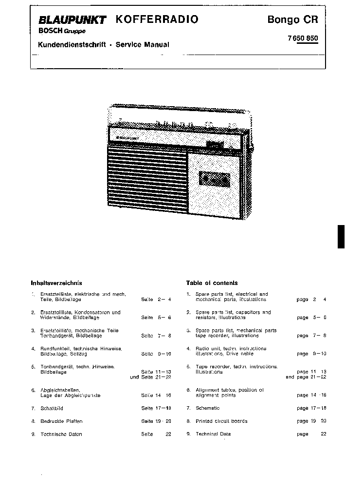 BLAUPUNKT KOFFERRADIO BONGO CR SERVICE MANUAL Service