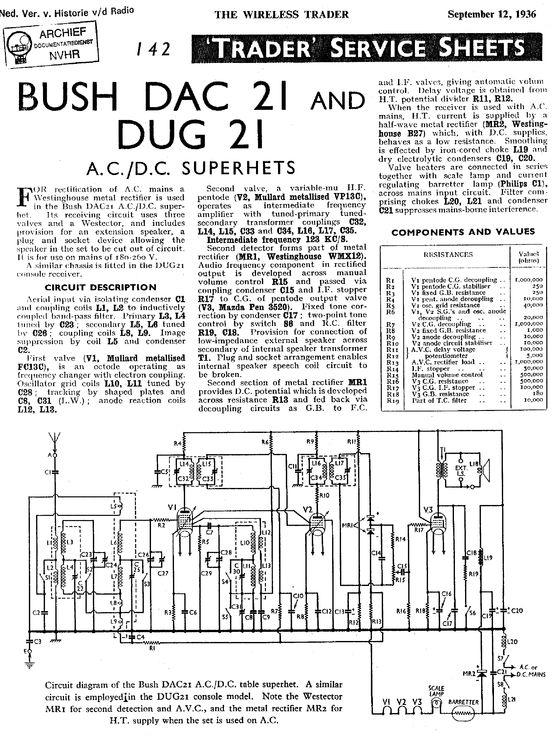 BUSH DAC43 DUG43 RG43 RADIO 1943 SM Service Manual