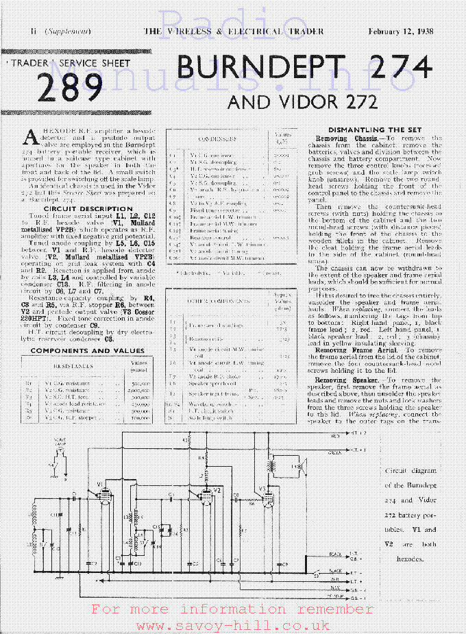BURNDEPT 274 VIDOR 272 Service Manual download, schematics