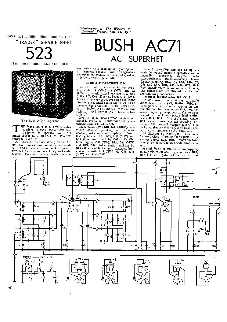 BUSH SB44 BATTERY RADIO 1938 SM Service Manual download