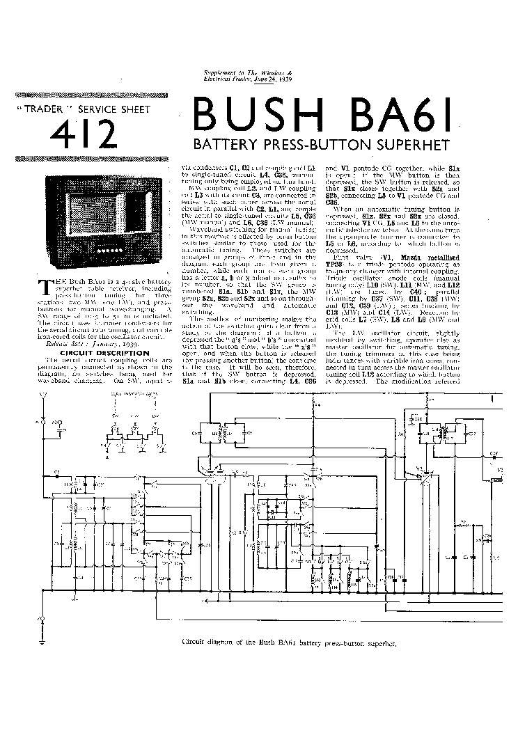 BUSH SAC31 AC-SUPER RECEIVER 1945 SM Service Manual