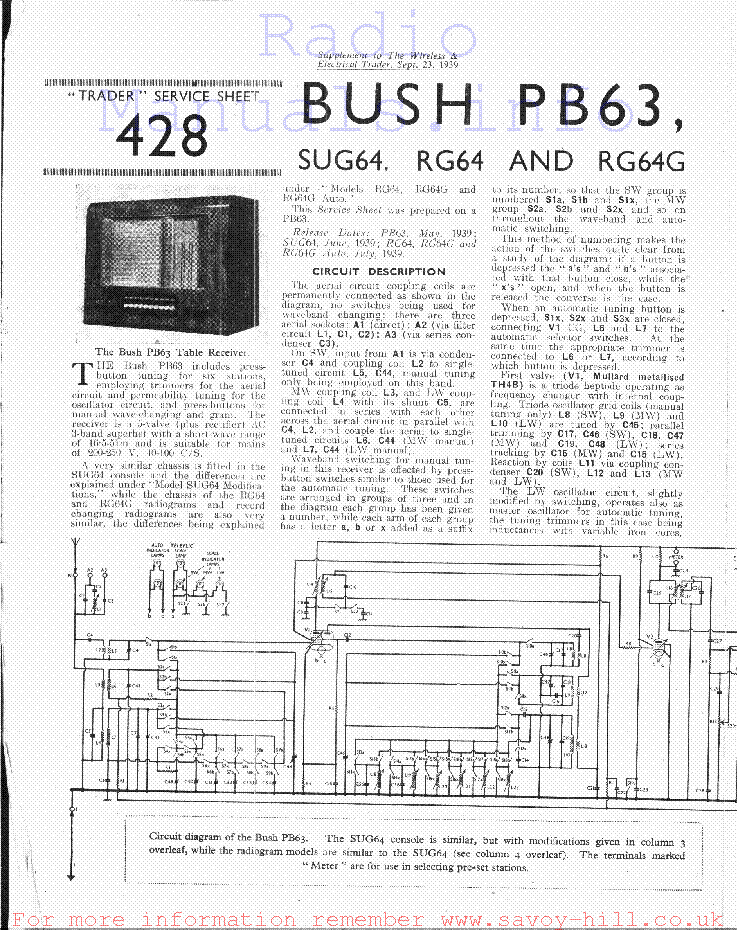 BUSH PB63 SUG64 RG64 RG64G Service Manual download