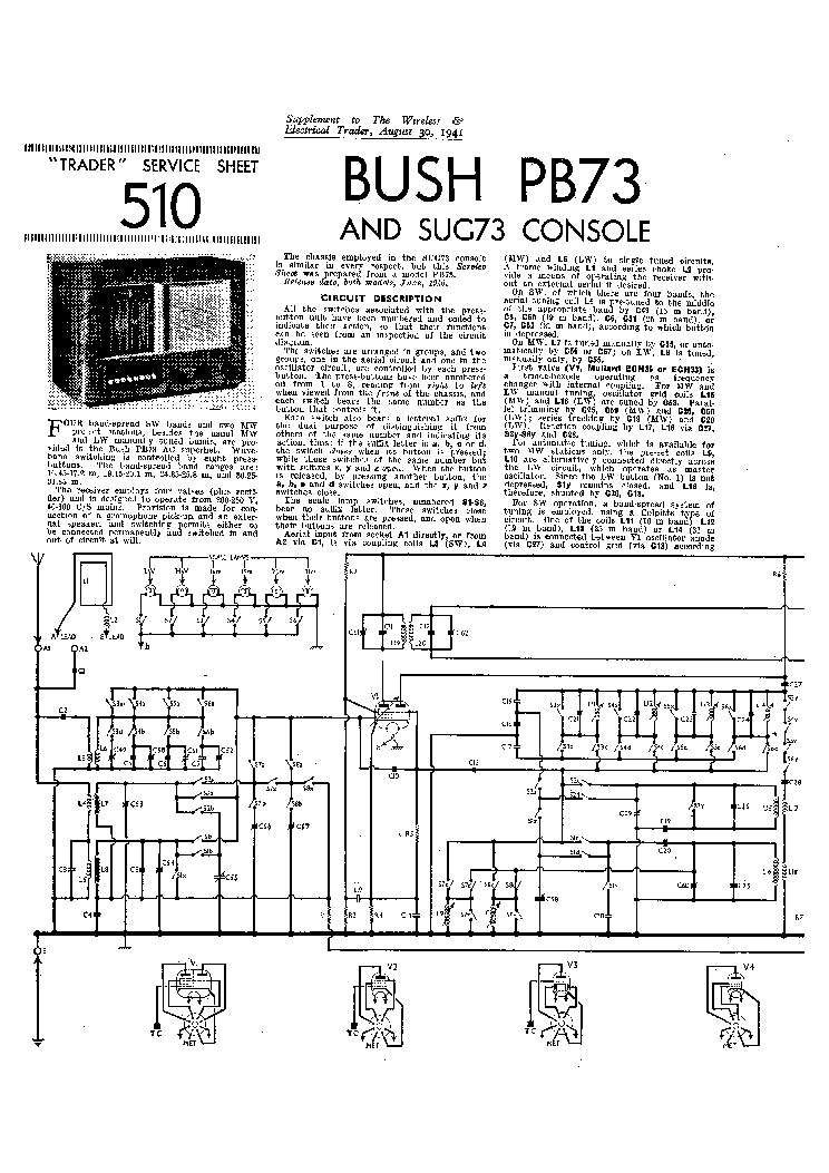 BUSH PB73 SUG73 CONSOLE RADIO 1941 SM Service Manual