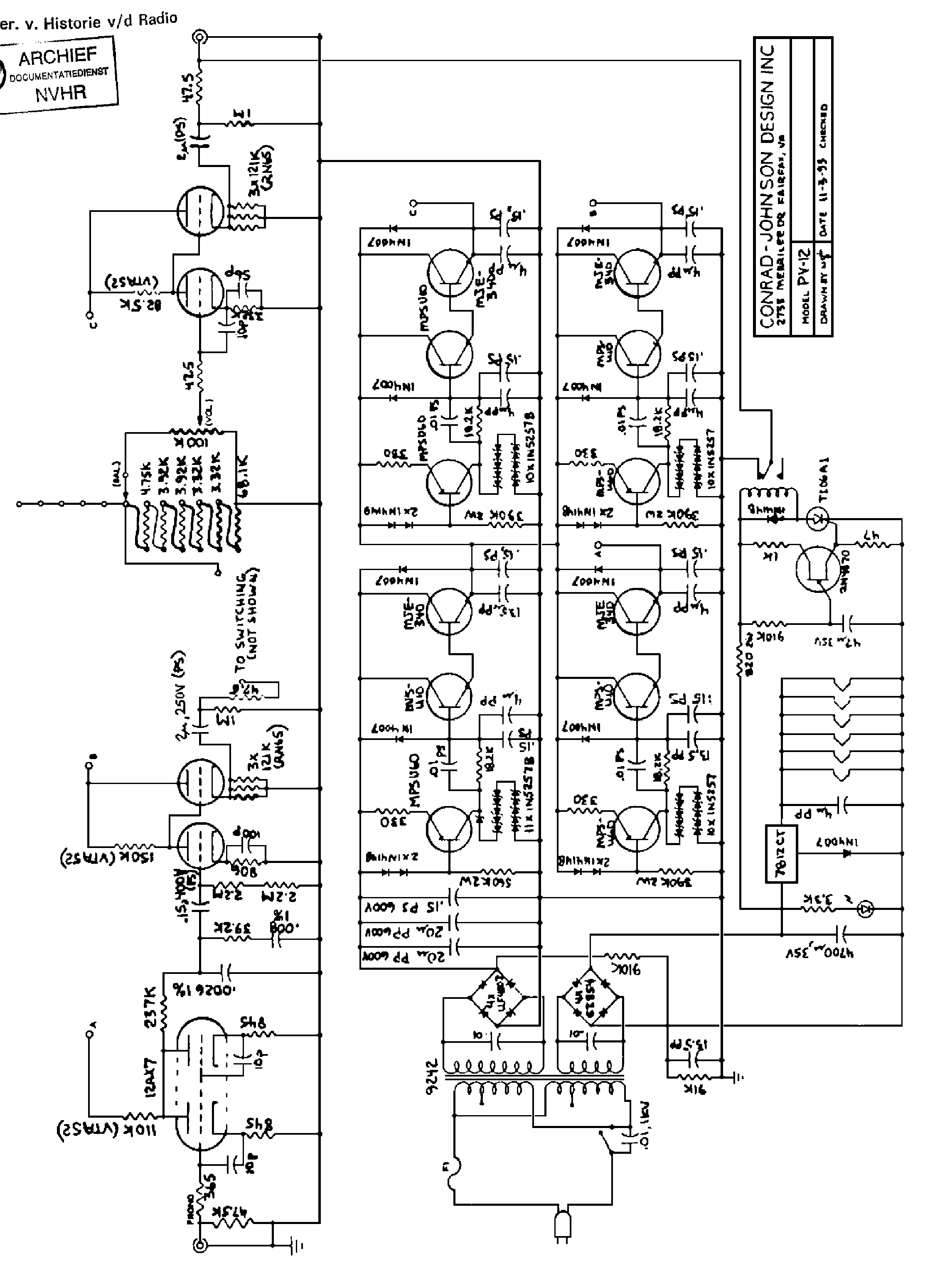 CONRAD-JOHNSON PV-12 SCH. Service Manual download