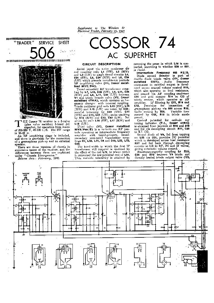COSSOR CDU-150 CHANNEL-1 AMPLIFIER SCH Service Manual