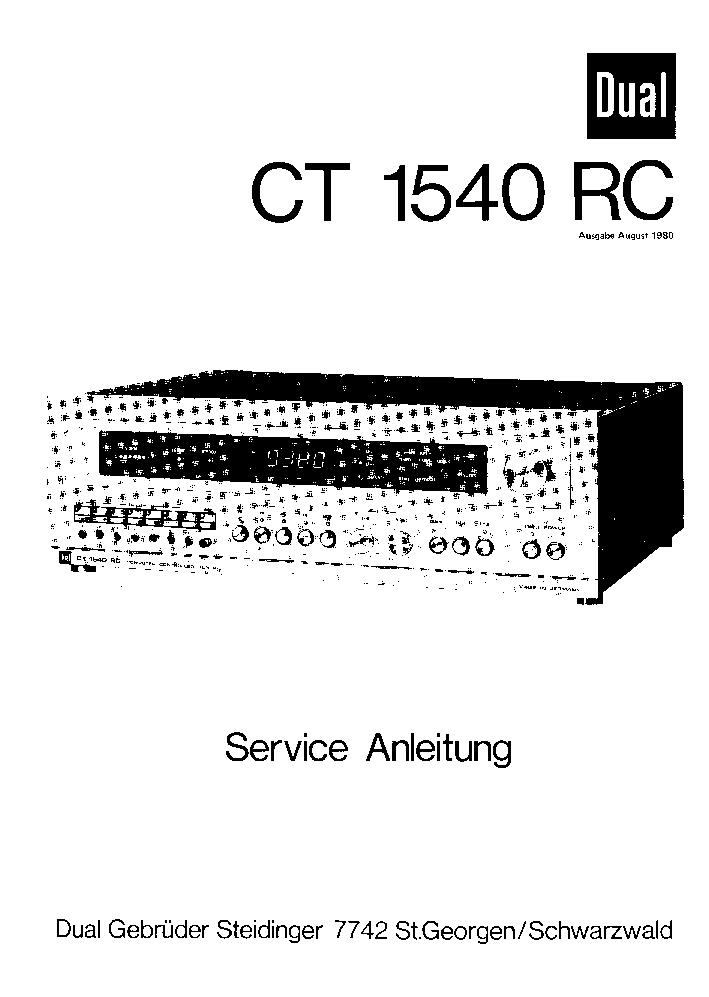 DUAL CT 1540 RC SM Service Manual download, schematics