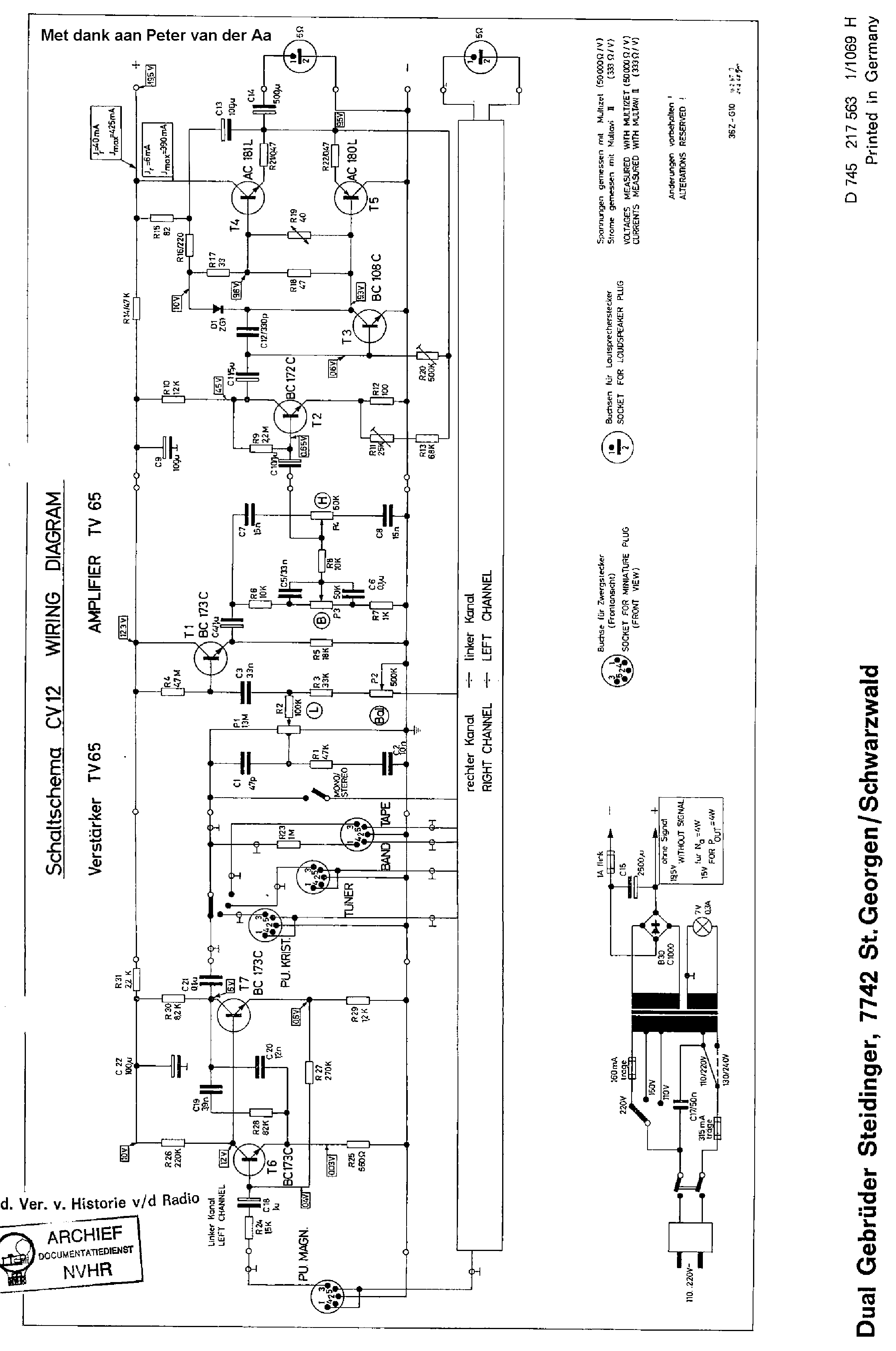 DUAL CV12 STEREO AMPLIFIER SCH Service Manual download