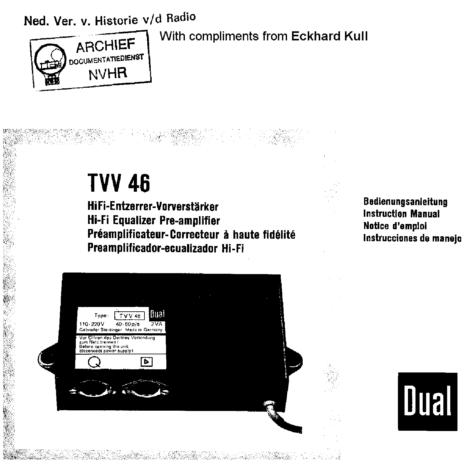 DUAL CV12 TV65 STEREO AMPLIFIER SM Service Manual free