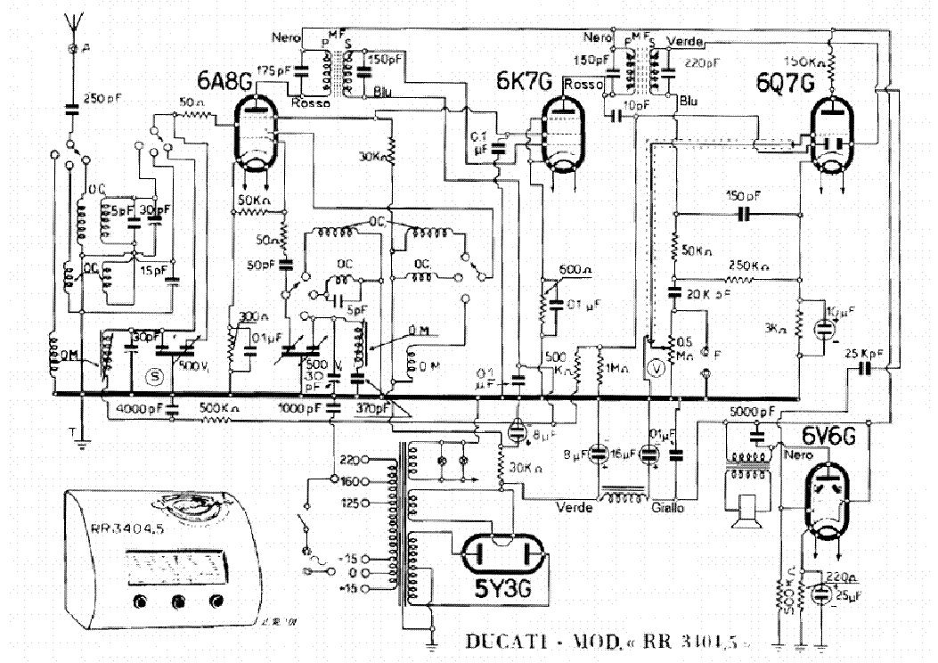 DUCATI RR3404-5 AM RADIO RECEIVER SCH Service Manual