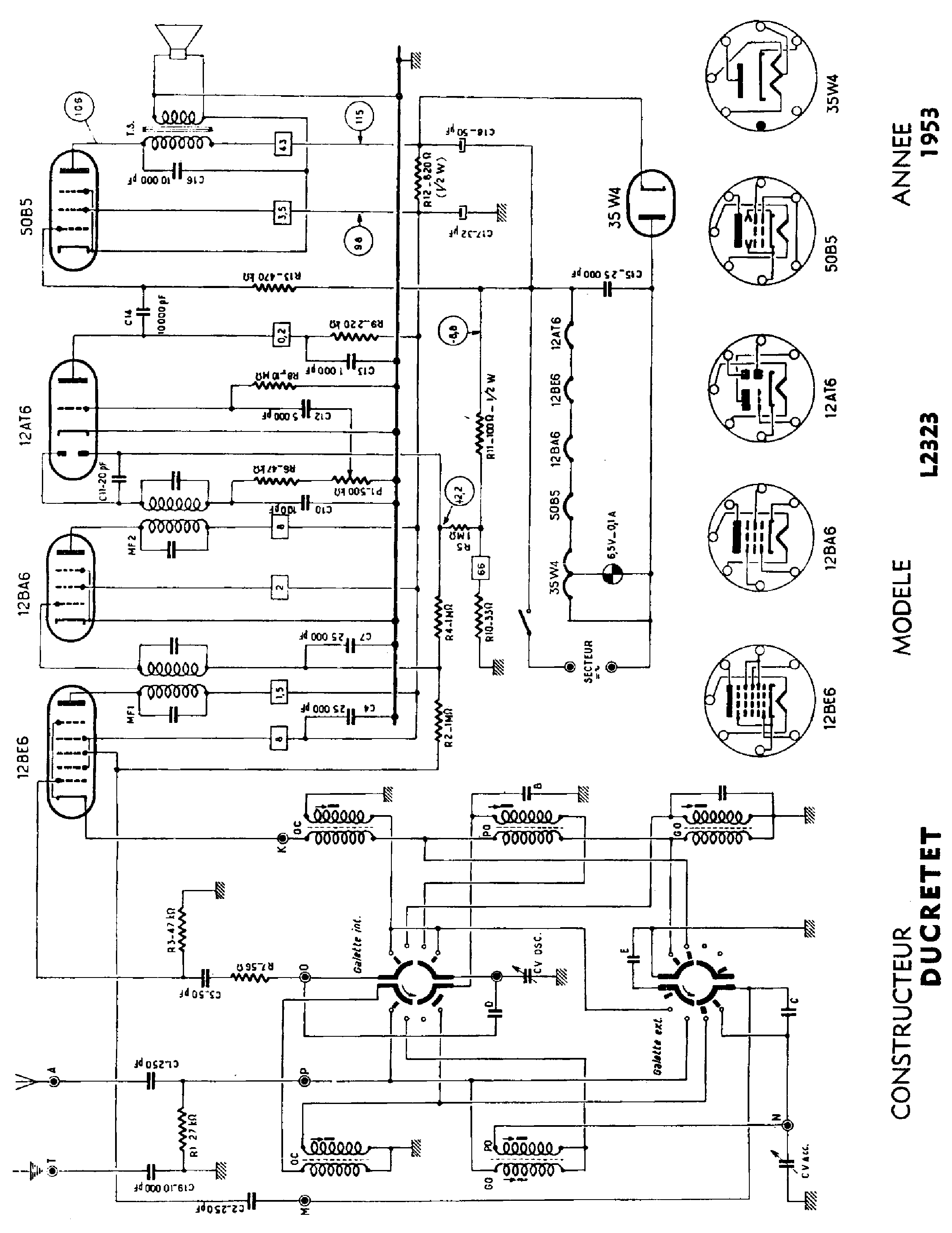 DUCRETET L2323 AC-DC RECEIVER 1953 SCH Service Manual