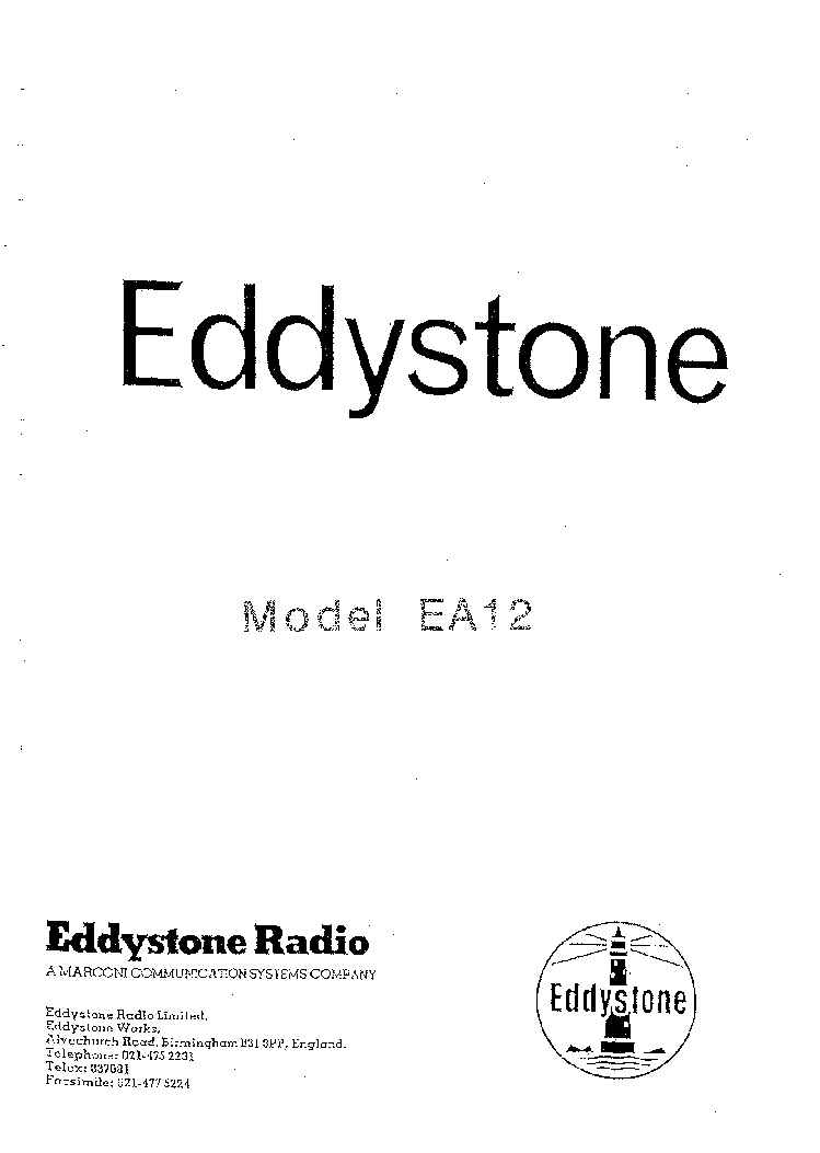 EDDYSTONE ARMY 730 4 REVISED Service Manual free download