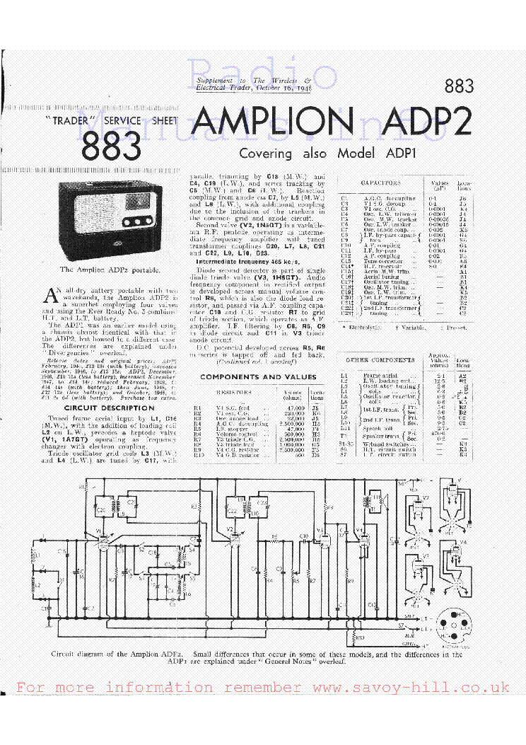 AMPLION MV2B BATTERY ELIMINATOR SCH Service Manual