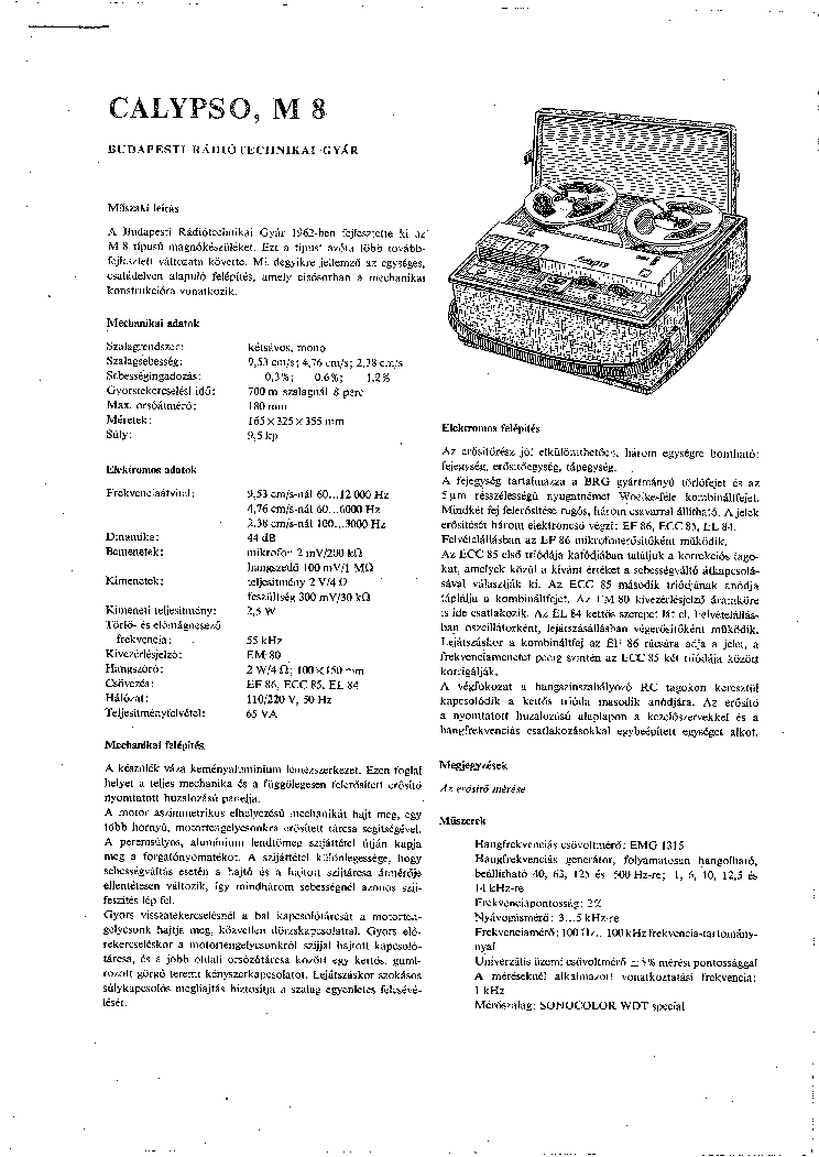 CALYPSO M8 Service Manual download, schematics, eeprom